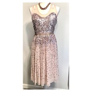 French Connection shimmer pink/silver dress SZ 8